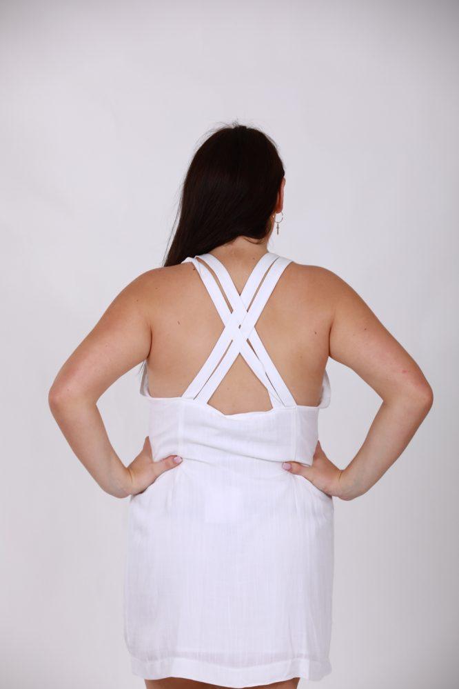 Saskia White Linen Dress bl