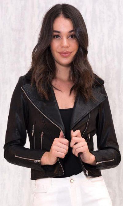 Anarchy Faux Leather Biker Jacket- Black