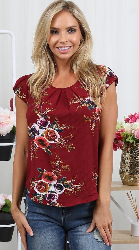 Tenaya Floral Tops red
