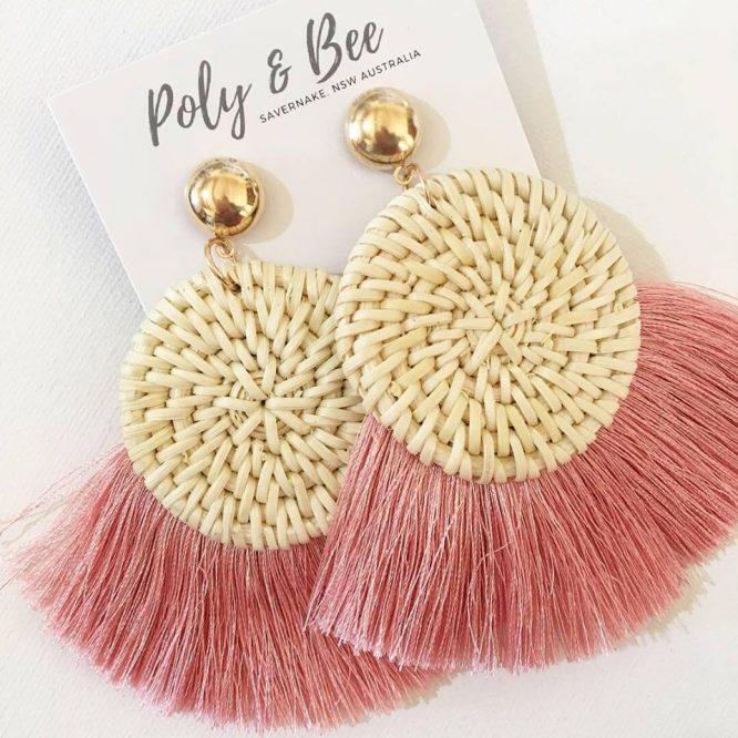 What's not to love about handmade? Our friends at Polly and Bee have been bust making the Rattan Weave Fan Tassel Earrings. 2