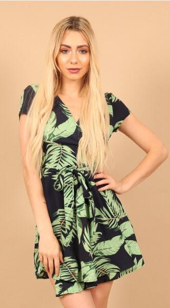 Wrap Floral Print Dress green