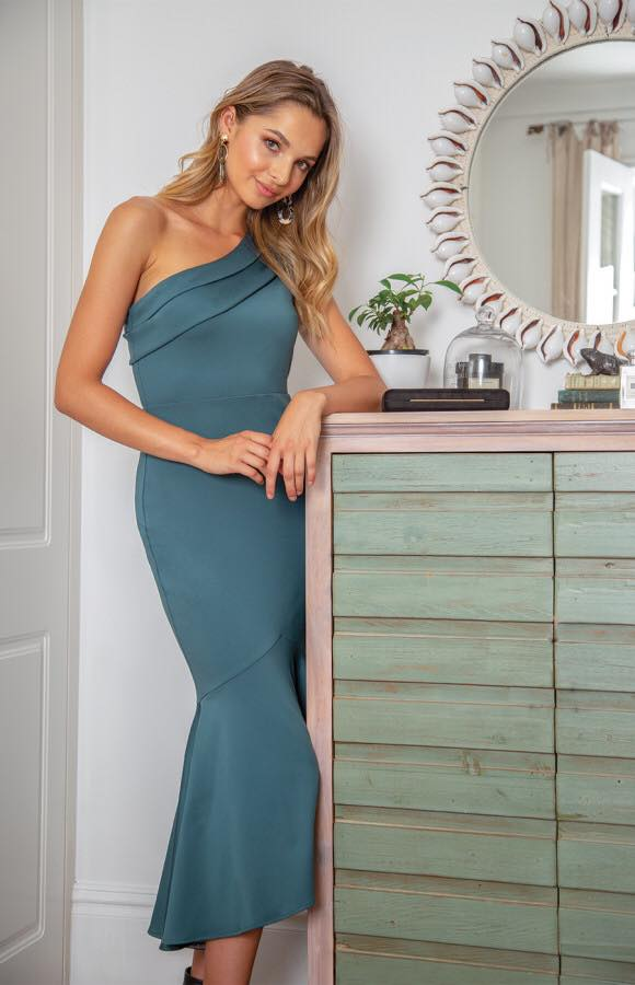 Serayah One Shoulder Fish Tail Dress - Emerald