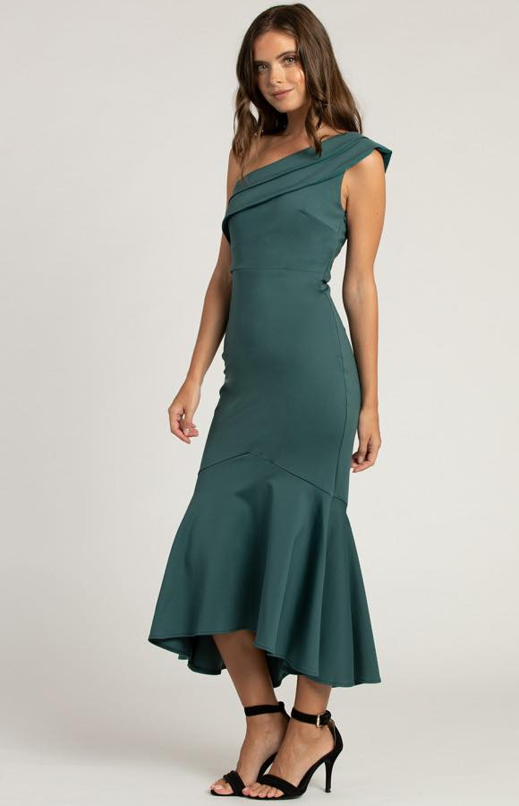 Serayah One Shoulder Fish Tail Dress - Emerald s
