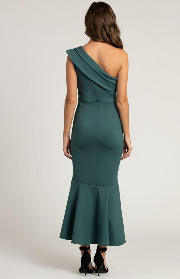 Serayah One Shoulder Fish Tail Dress - Emerald b
