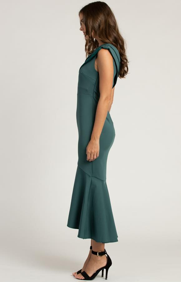 Serayah One Shoulder Fish Tail Dress - Emerald 3