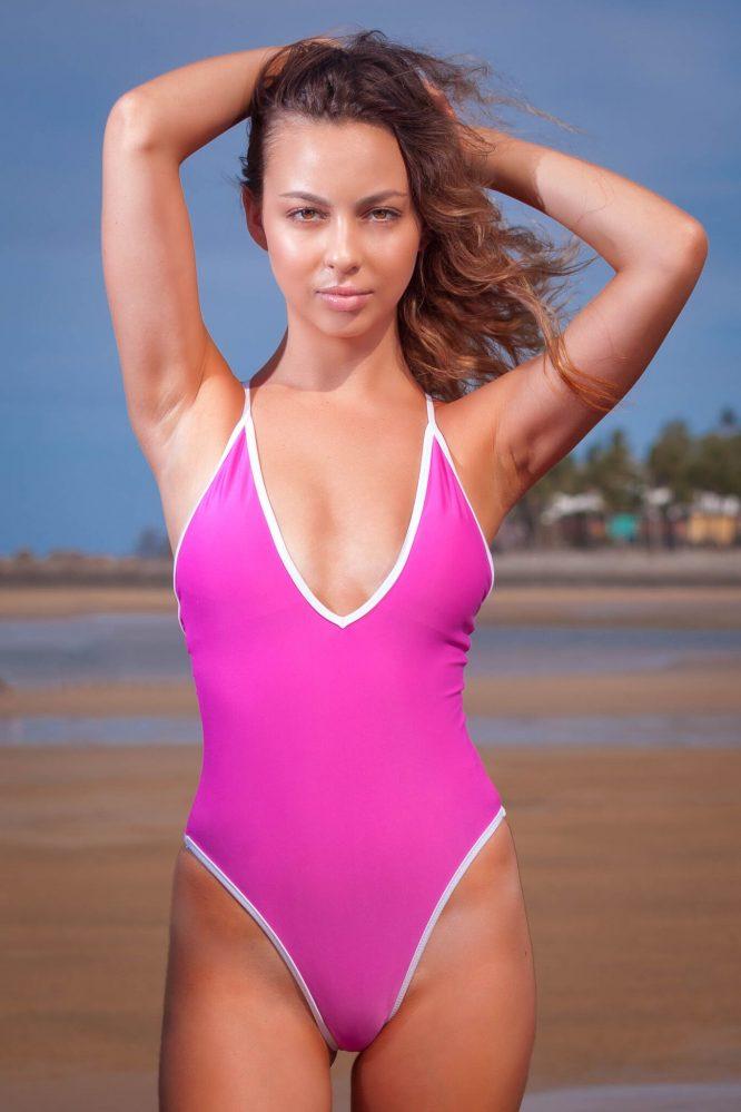 Adrianna Thigh High one piece pink