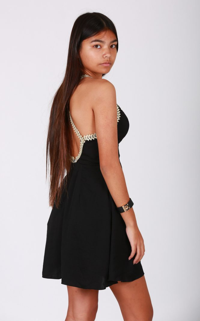 Fiesta Forever Dress - Black and Gold side
