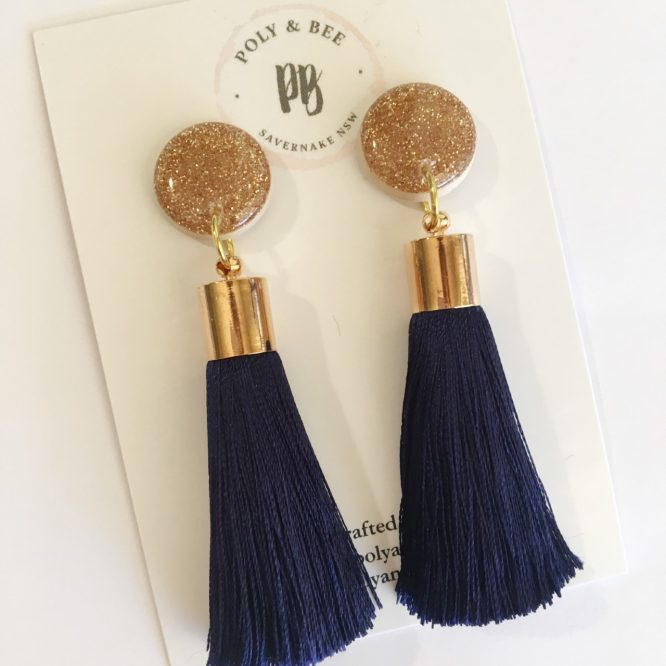 Statement Gold Sparkle Tassel Earrings navy