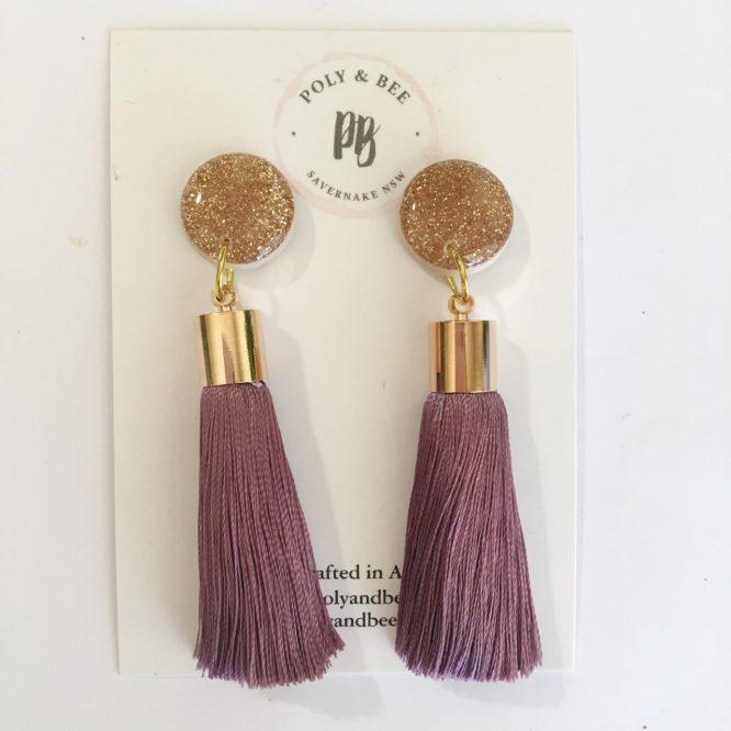 Statement Gold Sparkle Tassel Earrings purple