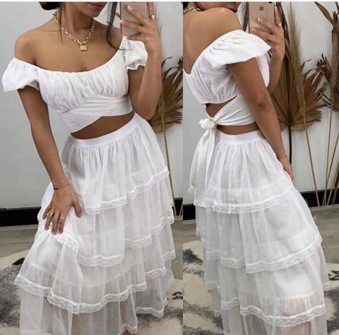 Gloria White Tie Back Crop Top