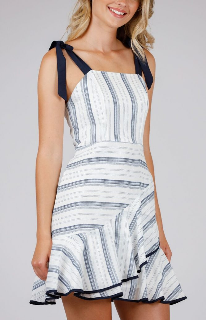 Julia Stripe Mini Dress - Navy
