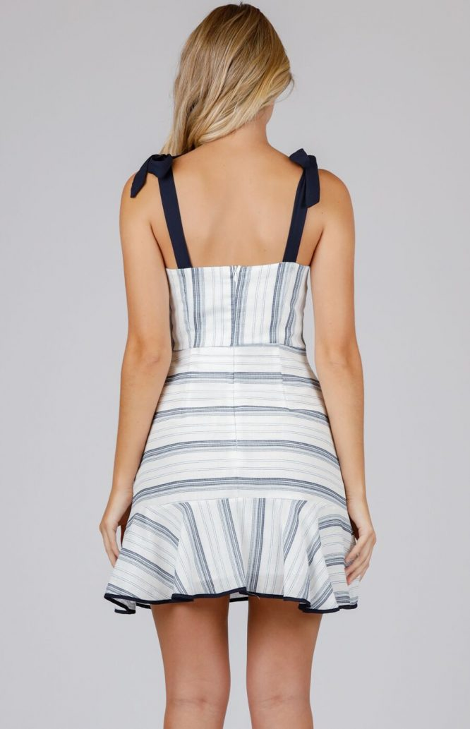 Julia Stripe Mini Dress - Navy 2