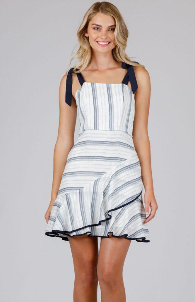 Julia Stripe Mini Dress - Navy front