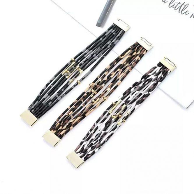 Leopard Print Magnetic Bracelets flat