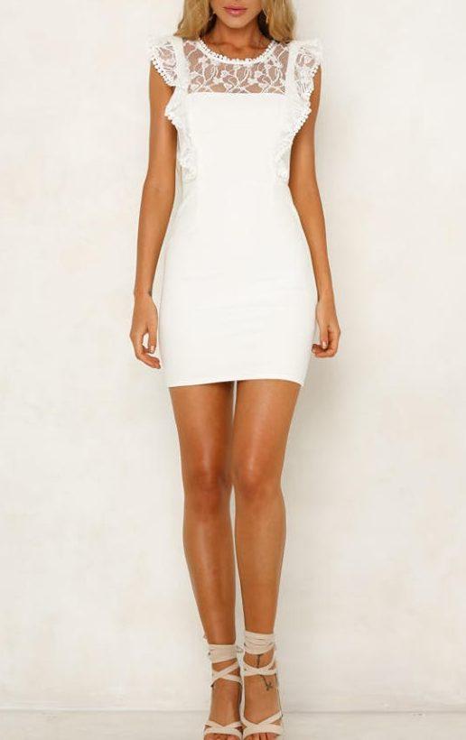 Anastasia White Frill dress