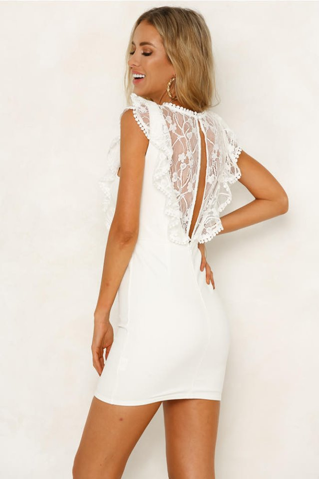 Anastasia White Frill dress back