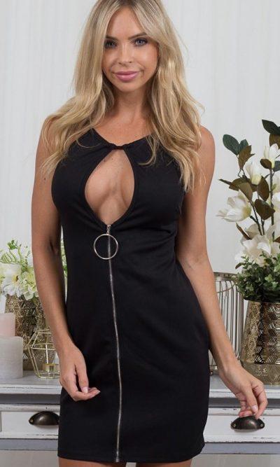 Dolores Zip Front Dress - Black