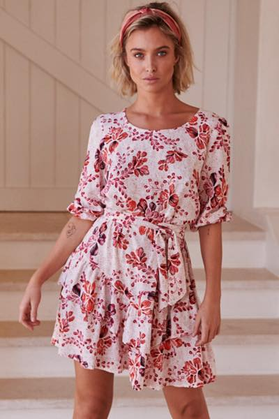 Arden Print Revival Mini Dress- Jaase front