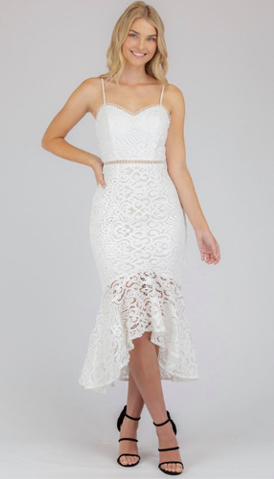 Felicity Lace Midi Dress - White