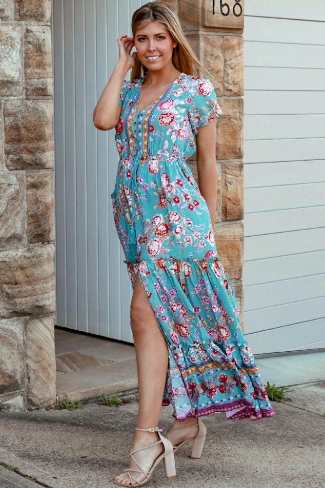 Ivory maxi dress side
