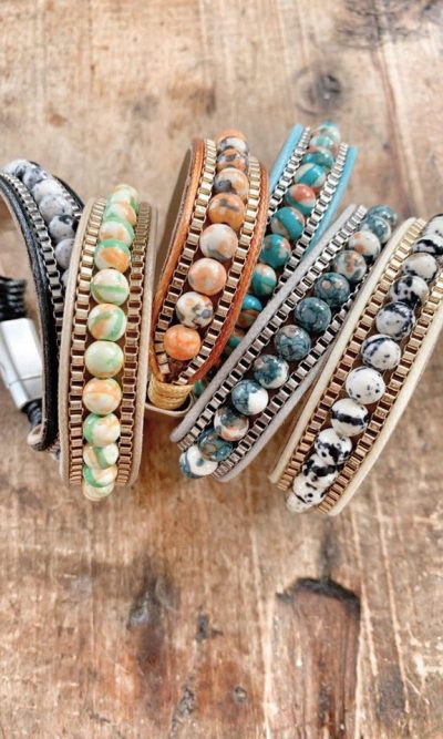 Marbled Bead Snap Clip Bracelet
