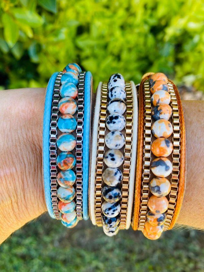 Marbled Bead Snap Clip Bracelet all
