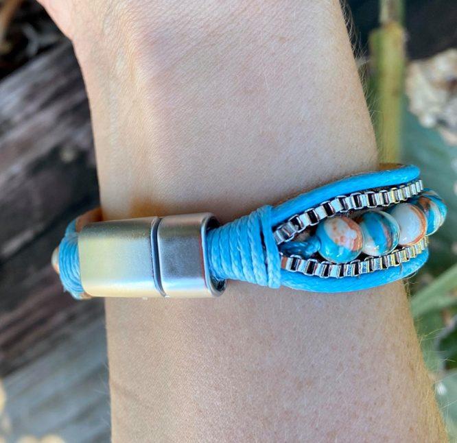 Marbled Bead Snap Clip Bracelet back