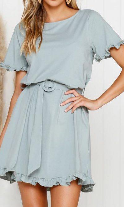 Cressida sage Mini Dress